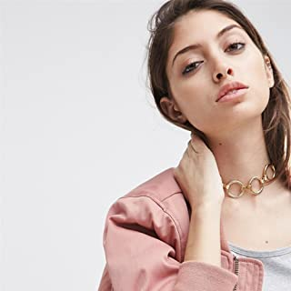 Prettyia Fashion Circle Choker Necklace Collar Choker Vintage Mod Double Circle Link