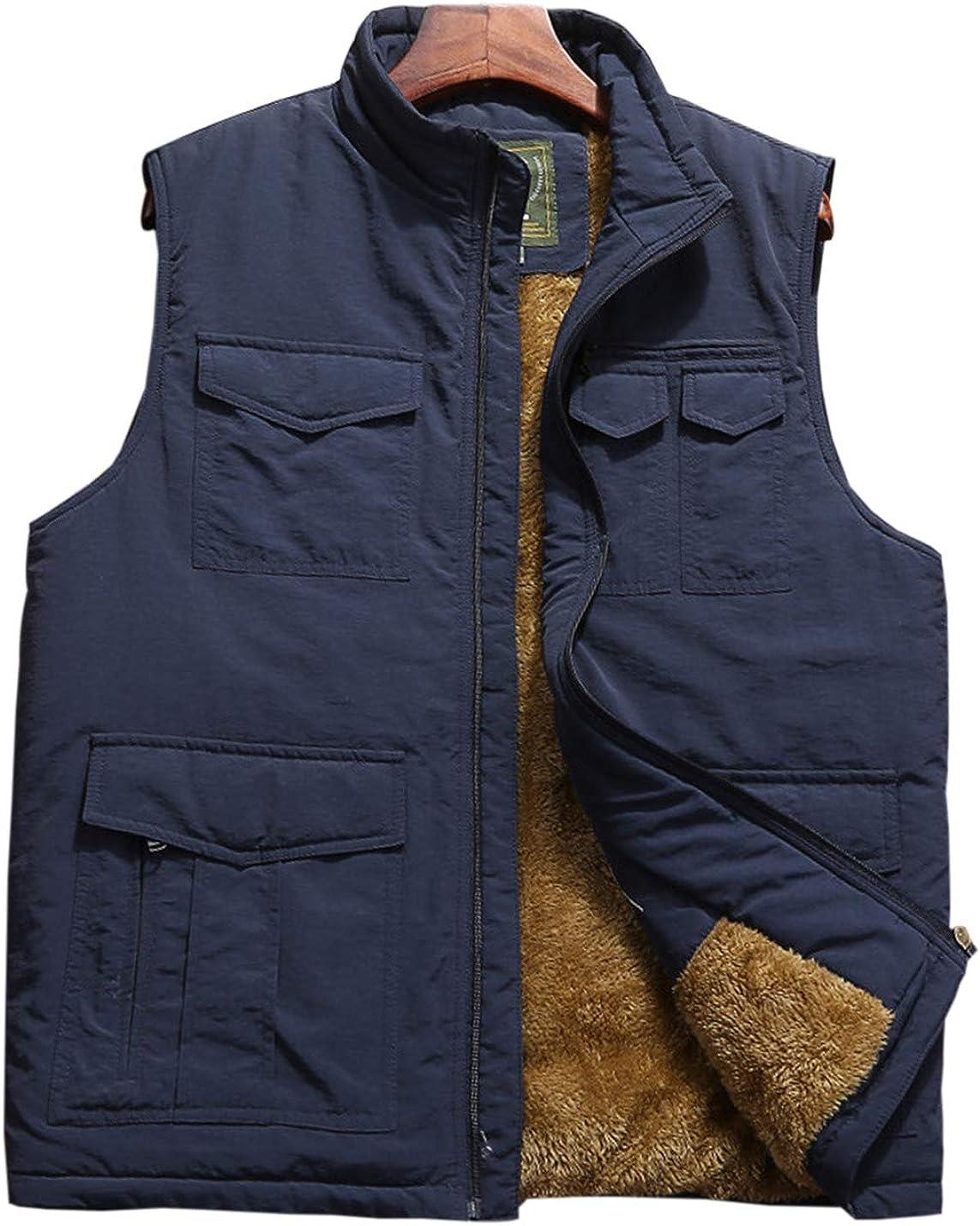 Gihuo Men's Thickened Outdoor Fishing Safari Vest Sleeveless Jacket