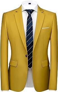 Unastar Mens Business Notch Lapel Patch 3 Pieces Slim Blazer Suit Coat Tops