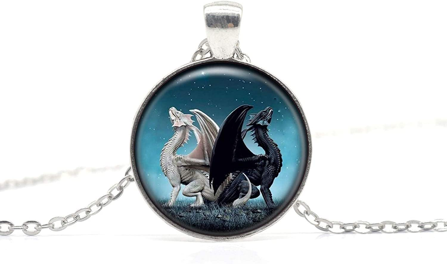 Fierce Animal Dragon Necklace Handmade Charm Jewelry Couples Black and White Dragon Pendant Gift