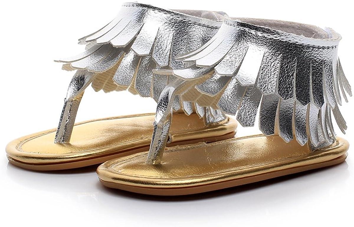 HONGTEYA Baby Sandals Tassels Premium Rubber Sole Dress Shoes for Girls Prewalker Toddler Moccasins