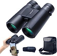 konpcoiu 12x42 سقف منشور منشور دوبل برای بزرگسالان ، دوربین دوچشمی جمع و جور قابل حمل و ضد آب با دید کم نور در شب ، لنزهای HDL Prism FMC BAK4 نمای واضح برای تماشای پرندگان ، شکار ، مسافرت ، کنسرت