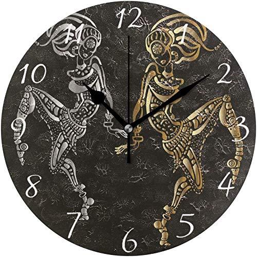 quanjiafu Reloj De Pared Redondo Mujer Africana Estilo Étnico Inicio Decoración De Arte Reloj para Oficina En Casa