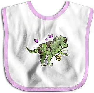 UBCATDESA Dinosaur Drinking Tea Baby Bibs, Unisex Baby Soft Cotton Easily Clean Teething Bibs(Blue&Pink)