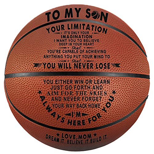 Tree Life Engraved Basketball Gifts for Son - to My Son from Mom Your Limitation It's Only Your Imagination - Christmas Birthday Gifts Indoor/Outdoor Basketball 29.5 Inch