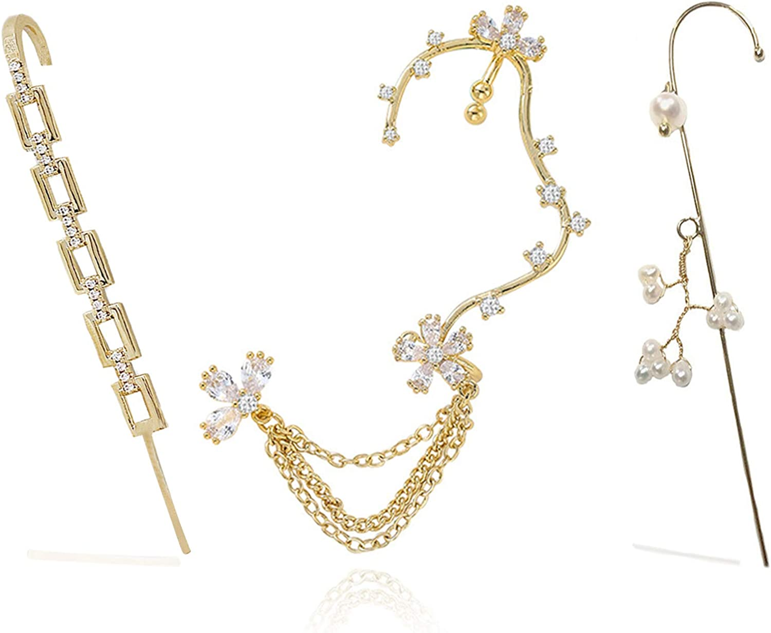 ZGDHHZDX 3PCS Ear Cuff Crawler Earrings for Women Girl, Gold New Hypoallergenic Ear Wrap Crawler Hoop Earrings, With Hook Cuffs Crawler Earrings Ear with Gift Box
