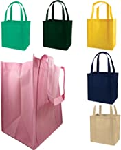 Reusable Grocery Shopping Tote Bags with Plastic Bottom Insert Reinforced Handles & Thick Plastic Bottom for Durability (Set of 5) Heavy Duty - Hold 30+ lbs (ASSORTED MIX)