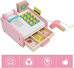 Wooden Cash Register with Scanner, Learning Resources Pretend & Play Cash Register Toy Simulation Cash Register Kit Educational Model Toy for Kids