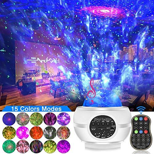 Luz de Noche de Bola de Discoteca, proyector de luz de Estrella Luces de Discoteca con Altavoz Bluetooth 8W 15 Colores Luces de Fiesta de DJ Control Remoto Luz de Discoteca para Dormitorio