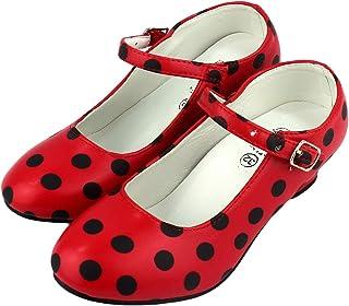 Furein Flamenco-/Sevillana-Schuhe, Tanzschuhe für Damen / Mädchen, Rot mit schwarzen Punkten
