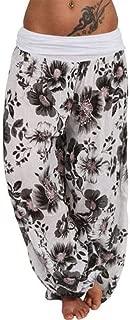 ZEFOTIM Women Plus Size Print Loose Casual Elastic Pants Cropped Full Length Trousers