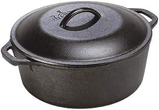 Lodge 5 Qt vb123, Black, L8DOL3, Lodge 5 Quart Cast Iron Dutch Oven. Pre-Seasoned Pot with Lid and Dual Loop Handle, Black