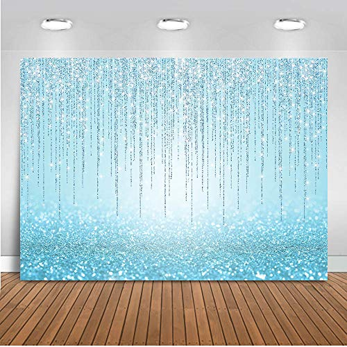 Mocsicka Blue Glitter Backdrop Girls Sweet 16th Birthday Party Decorations Photo Backdrops Bridal Shower Birthday Baby Shower Photography Background (7x5ft)