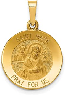 Solid 14K Yellow Gold Polished And Satin St. Mark Yellow Gold Medal Pendant
