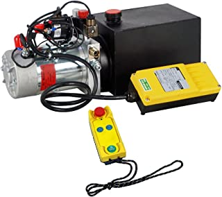 FISTERS 12V Hydraulic Pump,Wireless Control Hydraulic Power Unit, Double Acting 6 Quart Dump Trailer Pump for Car Lifting