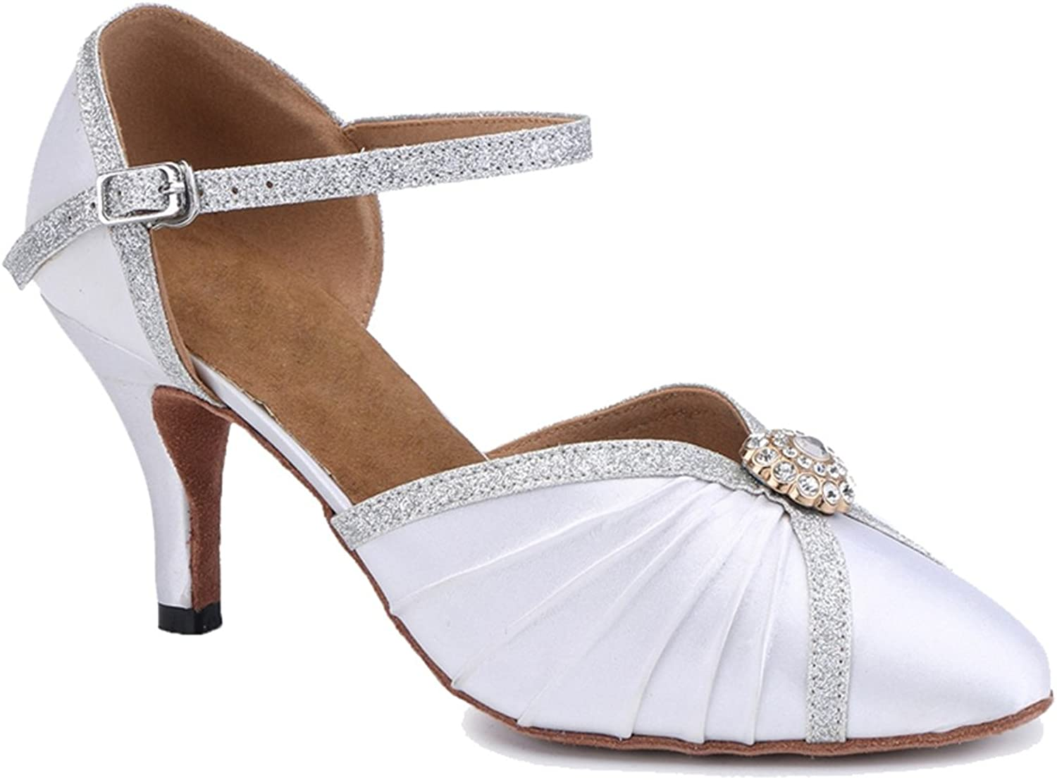 TDA Women's Comfort Single Strap Ruched Rhinestone Satin Ballroom Latin Modern Dance Wedding shoes