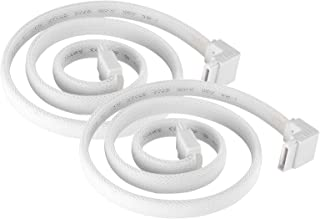 SilverStone Technology CP08W 90 Degree SATA 3 Sleeved White Cable with EMI Guard for 6Gb/s 2-Pack