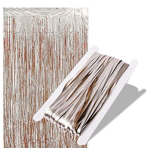 sinzau Lametta Vorhänge, Folie Fransen Vorhänge, zur Tür- und Fensterdekoration, 2 Stück, Lacquer Gold