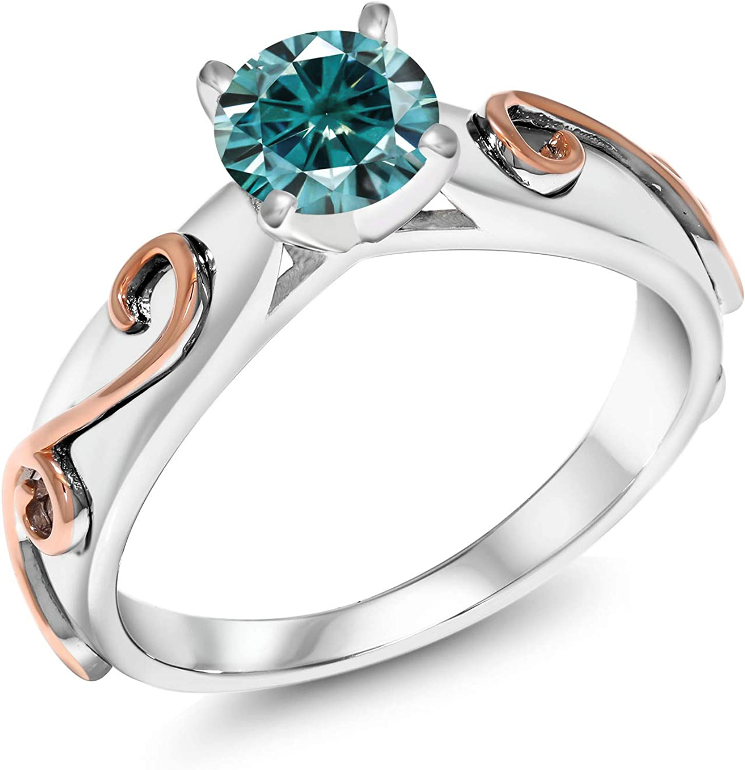 Gem Stone King 925 Opening large release sale Sterling Silver 2021 spring and summer new Moiss Created Ring Blue Round