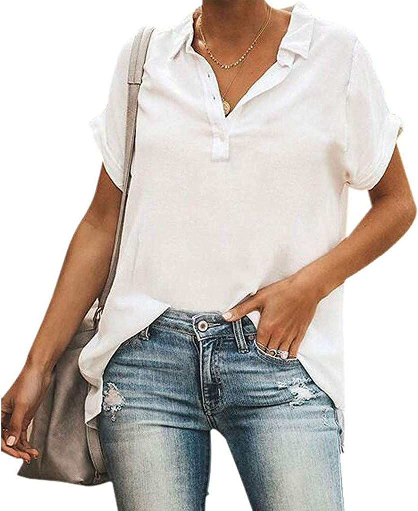 Shirts for Women Yuaekjes Womens Plus Size tee Tops Solid Color Button T-Shirt Short Sleeve V-Neck Blouse Tunic Shirts