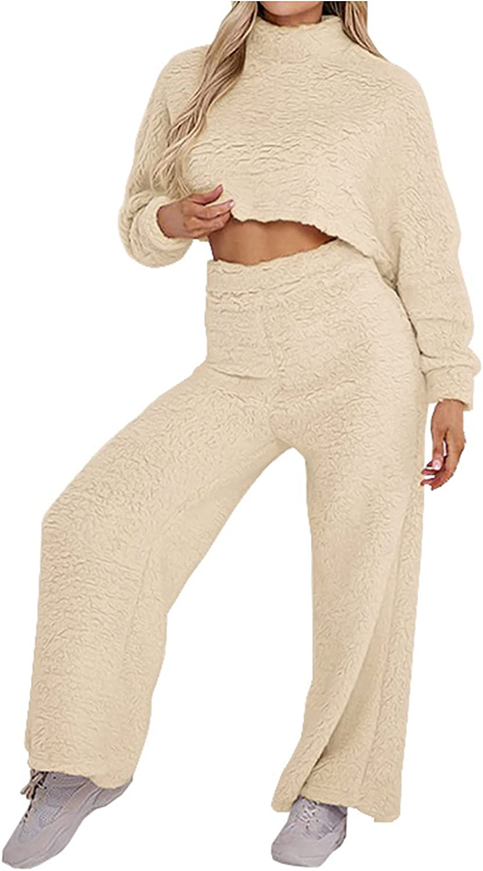 2pc Fall Women Set Soft Solid Long Sleeve O-Neck Fleece Warm Tops Long Hight Waist Trousers Pants Casual Suit
