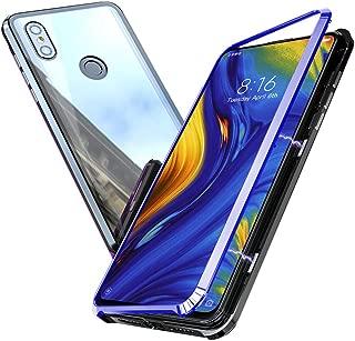 Cresee Xiaomi MI MIX3 ケース 強磁性アルミフレーム(ガラスなし)+クリア強化ガラス背面 薄型 レンズ保護 耐衝撃 傷防止 指紋防止 全面保護カバー 透明 (Xiaomi MI MIX3,ブルー)
