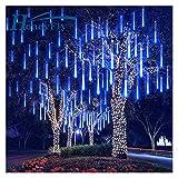 Yaoqshu Luces de Hadas Lluvia de meteoros Secuencia del LED LED 30 / 50cm 8 del Partido LED Luces de Navidad Boda Tubos decoración (Emitting Color : Blue, Wattage : 30cm)