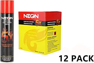 Neon Universal Gas Lighter Refill- 5X Refined Premium Butane 12 Pack with Display