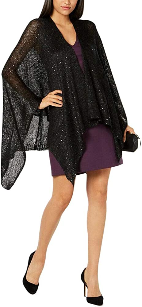 I.n.c. Sequined Knit Evening Wrap (Black, One Size)