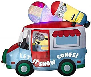 Gemmy Minions Despicable Me Inflatable Snow Cone Holiday Truck with Swirling Kaleidoscope Indoor/Outdoor Holiday Decoration