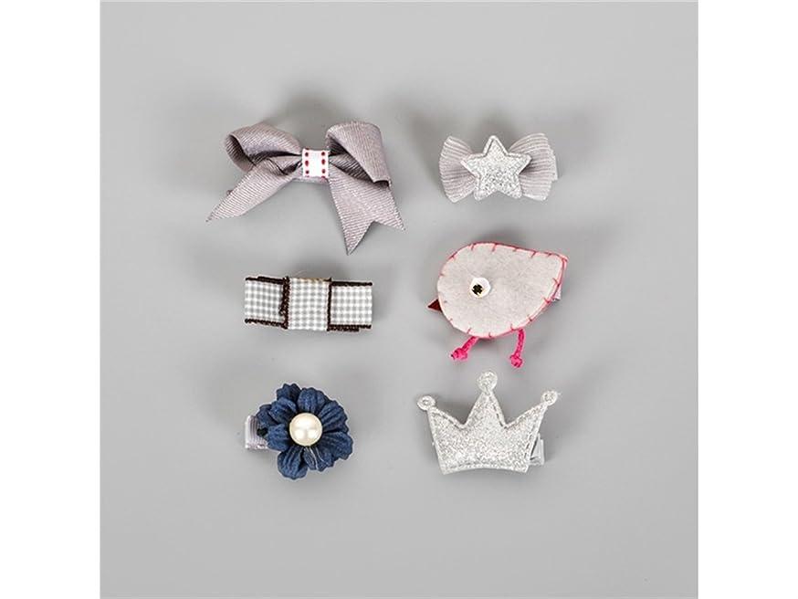 信号好きである以前はOsize 美しいスタイル キッズ幼児ヘアピン赤ちゃん少女漫画動物弓花モチーフヘアクリップヘアピンセット(グレー)