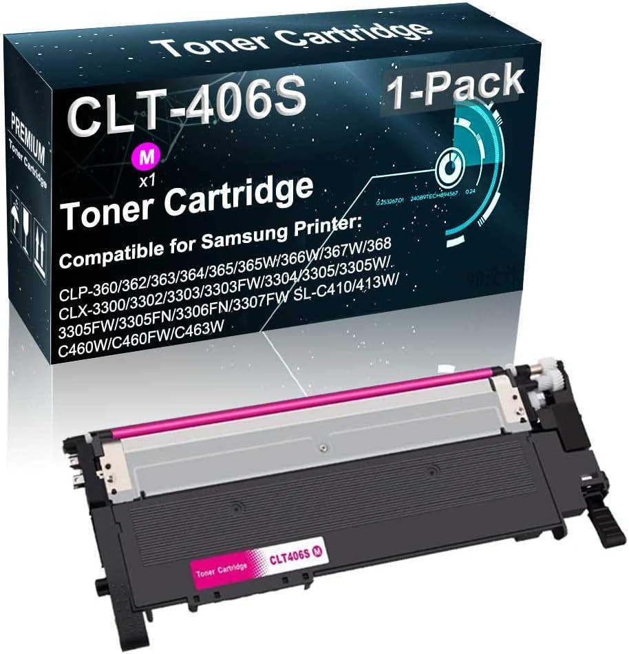 1-Pack (Magenta) Compatible Toner Cartridge 406S Used for Samsung CLP-365W CLP-366W CLX-3303FW CLX-3306FN Xpress C410W C460FW C463W Printer