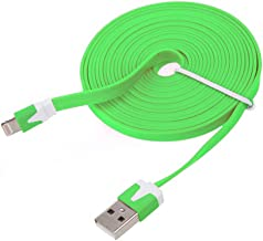 NTJ Flat USB Data Sync Charger (3ft, 6ft or 10ft Lengths and 10 Colors) (Light Green (10FT))