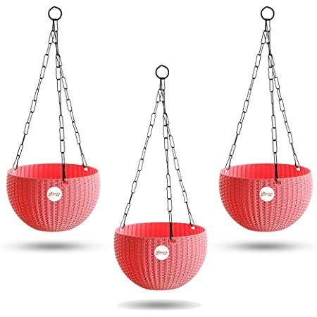 Kraft Seeds Hanging Planter Euro Elegance Round Solid Look and Feel Pots for Home & Balcony Garden 17.5cm Diameter (Pack of 3) Pink