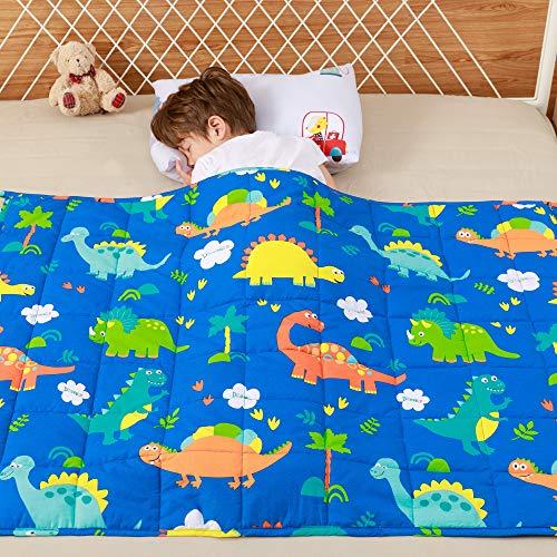 Anjee Manta Pesada para niños, Manta Gruesa de algodón 100% Natural para niños y Adolescentes, 4.5 kg 100x150 cm, Dinosaur Park