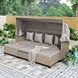 LZ LEISURE ZONE Patio Conversation Set, 4 Piece UV-Proof Resin Wicker Patio Sofa Set with Retractable Canopy, Cushions & Lifting Table