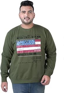 JOHN PRIDE Men's Plus Size Round Neck Olive Pullover Sweatshirt
