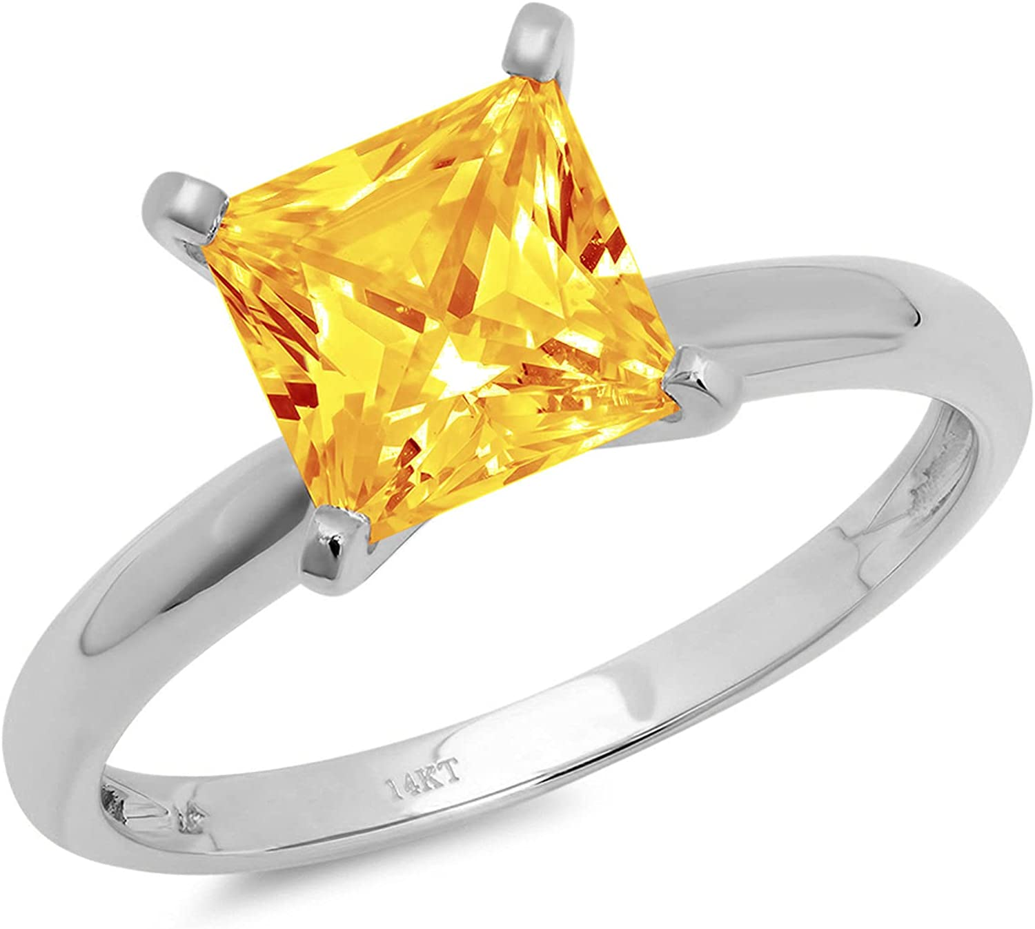 1.4ct Brilliant Princess Cut Solitaire Natural Yellow Citrine Ideal VVS1 4-Prong Engagement Wedding Bridal Promise Anniversary Ring Solid 14k White Gold for Women