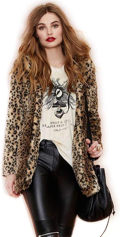 City In Left Women's Leopard Faux Fur Coat Vintage Warm Long Sleeve Parka Jacket Outwear