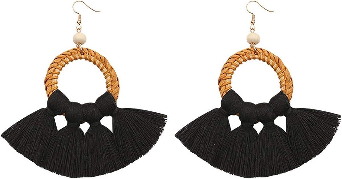 Boho Rattan Tassel Hoop Earrings Statement Fan Shaped Fringe Drop Dangle Earrings for Women Girls Bohemia Jewelry