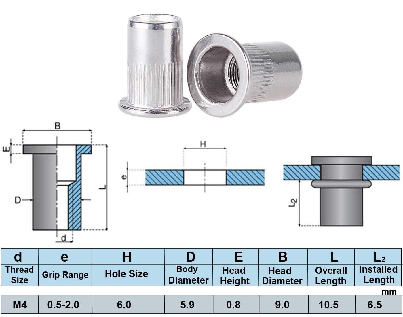 Lot de 50 /écrous /à rivets M4 en acier inoxydable filet/és pour rivets M4-0,7 mm