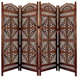 Benjara Traditional Four Panel Wooden Room Divider with Hand Carved Details, Antique Brown,