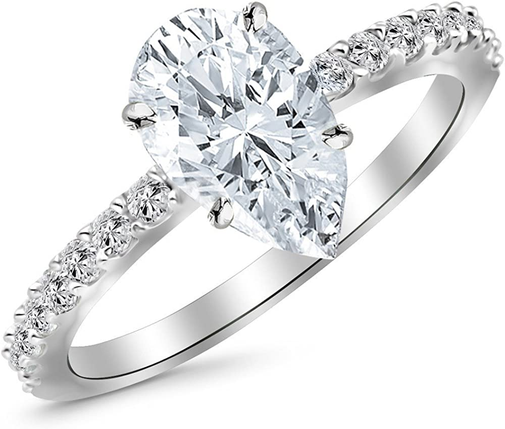 1.25 Ctw 14K White Popular product Gold Classic Cut Stone OFFicial store Enga Side Pear Diamond