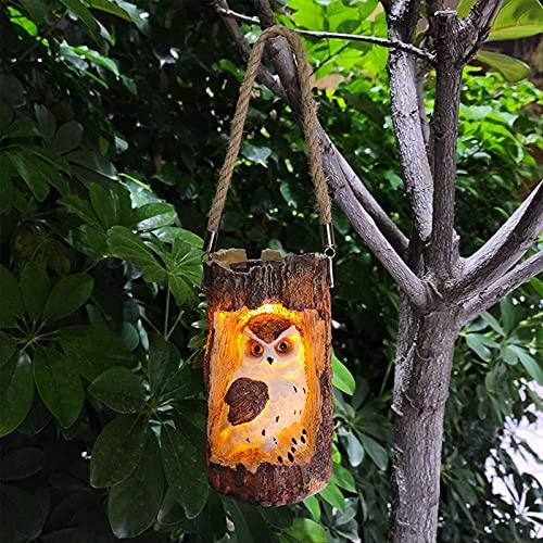 HanOBC Linternas solares de resina para colgar búho, estatua de búho, farolillos LED resistentes al agua, decoración de la lámpara de jardín solar para patio, patio, patio, valla de árbol, patio