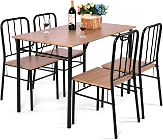 Giantex 5 Piece Dining Set Table and 4 Chairs Metal Wood...