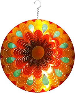 Wind Spinner Hanging Kinetic 19 Guage 3D Metal with Swivel Hooks Sun Catcher for Outdoor Indoor Decoration Gift Ornaments Sculpture Mandala Sunflower and Peacock Gold 12 Inch Wind Spinners