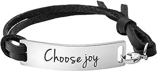 choose joy leather bracelet
