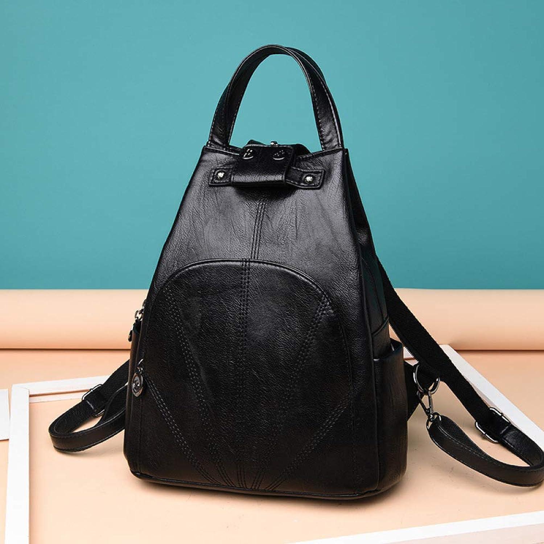 QWKZH Damenrucksack Damentaschen Texturot Simple Backpack Student Bag