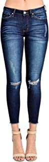 Women's Mid Rise Super Skinny Jeans - Distressed - KC6003