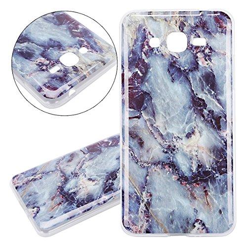ISAKEN Compatibile con Samsung Galaxy Grand Prime G530 Cover - Ultrasottille Morbido TPU Custodia Cover Slim Anti Scivolo Custodia Protezione Posteriore Cover Antiurto Bumper Caso, Marmo Blu Scuro